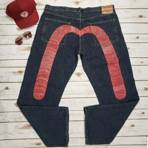 Evisu jeans mens red m embroidered loose fit 40x33